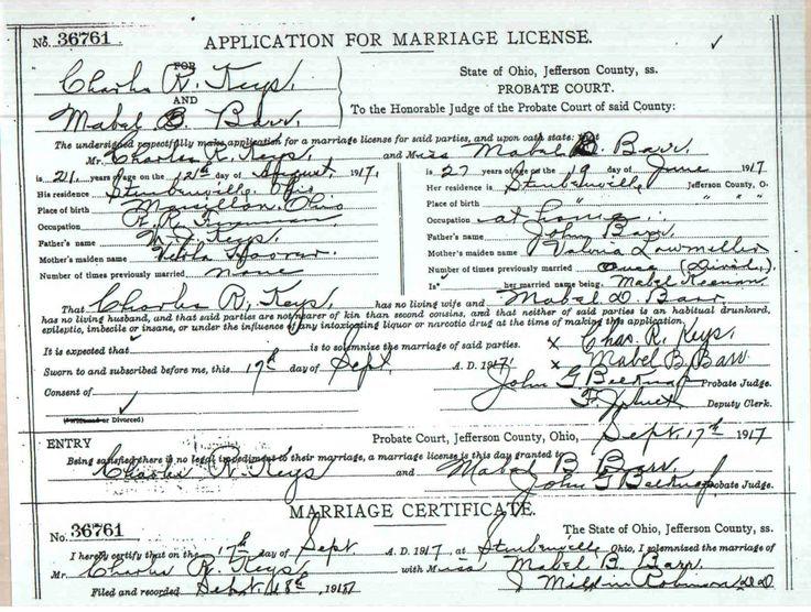 Marriage license ohio 1917