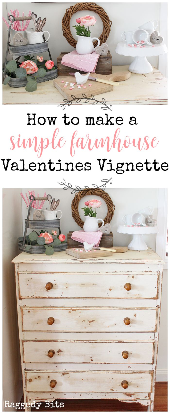 Sharing a how to make a Simple Farmhouse Valentines Vignette using things from around your home that you already have   www.raggedy-bits.com   #raggedybits #valentines #vignette #farmhouse #simple