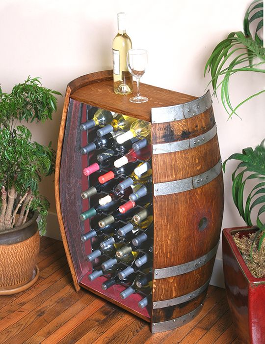 This unique wine barrel wine rack is made from a full 59 gallon Napa Valley oak wine barrel. The inside of the barrel is deeply stained a gorgeous dark burgundy color from soaking up some of California's finest red wines.    This wine cabinet takes up very little room but allows storage for 32 wine bottles.: Wine Racks, Wine Barrels, 32 Bottle, Diy Craft, Barrels Cabinets, Wine Holders, Wine Bottle, Barrels Wine, Bottle Wine