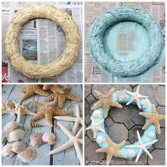 DIY Starfish Wreath at ALittleCLAIREIFICATION.com