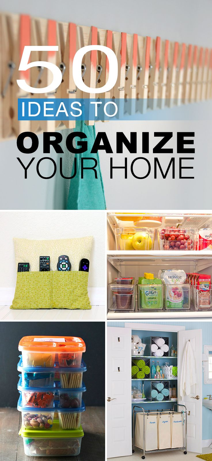 50 Ideas to Organize Your Home • Try these home organizing ideas, tips and hacks to help declutter your home! #homeorganizing #organizeyourhome #organizingideas #organizing #howtogetorganized