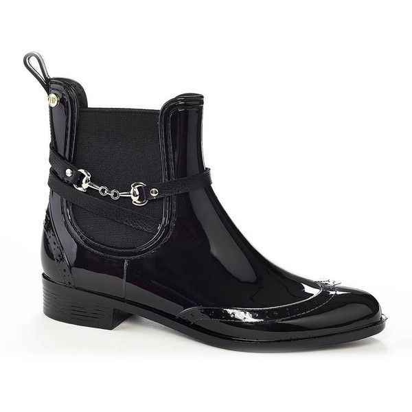 Henry Ferrera Survivor Women's Water-Resistant Ankle Rain Boots ($65) ❤ liked on Polyvore featuring shoes, boots, black, rain boots, black wellington boots, rubber rain boots, black slip-on shoes and black boots