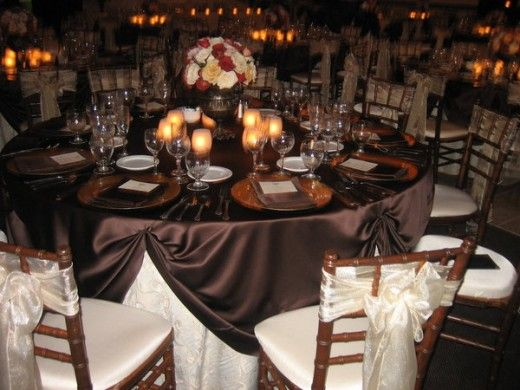 brown falll wedding centerpieces | BEAUTIFUL BROWN, DEEP RED, IVORY FALL WEDDING RECEPTION TABLESCAPE