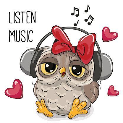 Cute cartoon Owl Girl with headphones - ilustração de arte em vetor