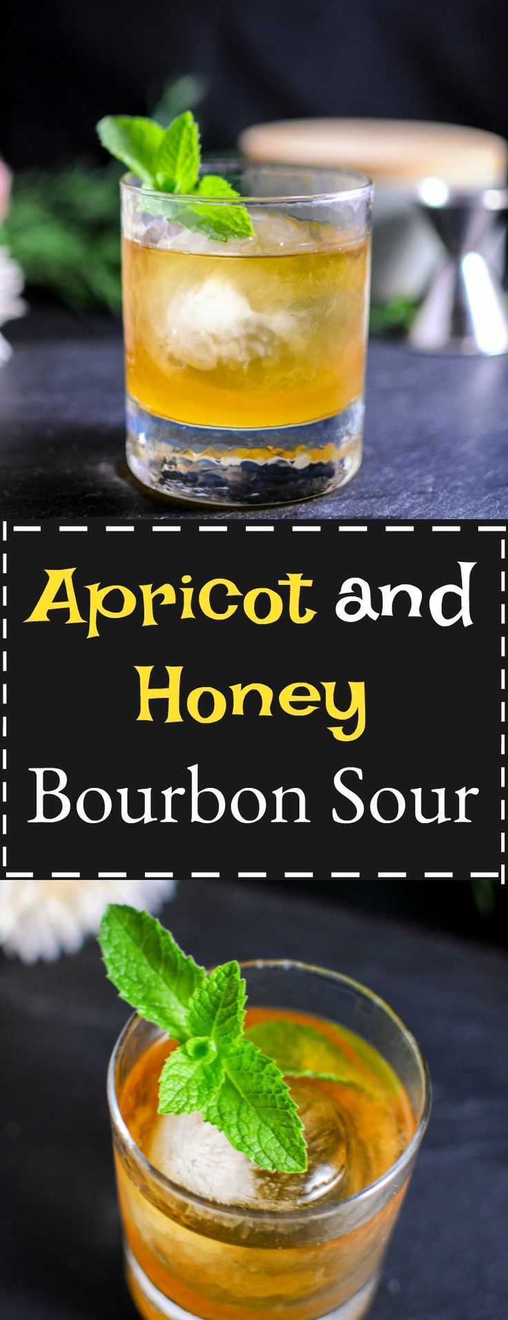 If you want a great craft cocktail, we have one for you! This Apricot and Honey Bourbon sour has the perfect touch of whiskey, but with the sweetness of honey and apricot simple syrup! Cheers!