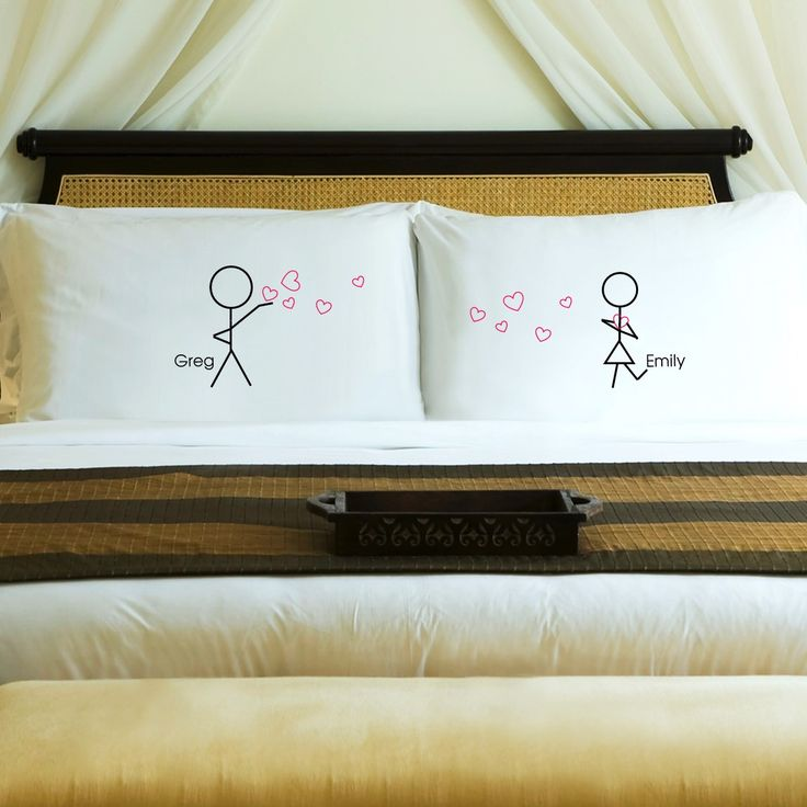 """Couples Stick Figure Pillow Cases - Personalized Whimsically designed with His and Hers stick figures, these Pillow Cases are a great gift for couples. Each pillow case measures 20"""" x 30"""" and fits a s"""