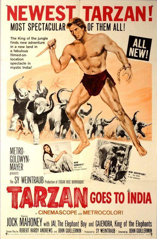 Tarzan Goes to India. Original 1962 US Theater Movie Poster. Jock Mahoney (Tarzan), Jai (Elephant Boy), Gajendra (King of the Elephants). by ArtisticSoulStudio on Etsy
