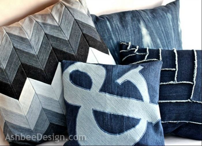 Chevron Denim Pillow Via Denim DoOver