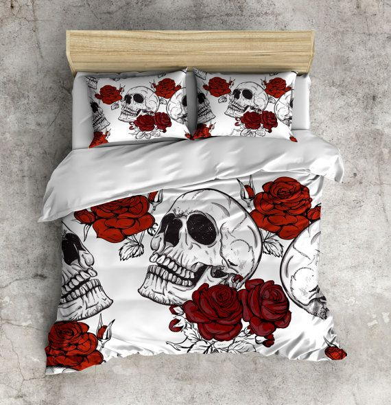 Black And White Skull With Red Rose Bedding Deep Red By Inkandrags