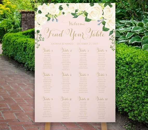 Wedding Seating Plan, The Glen Ellen Wedding Collection Ivory roses and green hydrangeas with Navy and gold Glen Ellen printable Wedding Seating Plan sign. Choose from 6 sizes from the dropdown menu at right!  24x36 inch sign shown with 12 tables  This high resolution sign is print ready! Print as many as you like at home or local print shop. No physical items will be shipped.  YOUR ORDER INCLUDES One high resolution (300DPI) poster  PLACING YOUR ORDER 1) Purchase this listing 2) When…