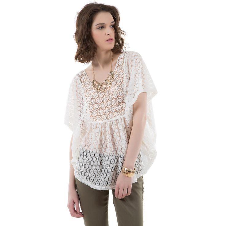 Blouse crochet ecru - MIM #blouse #crochet #transparence