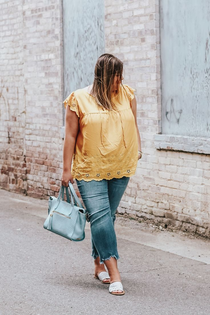Yellow Eyelet Top For Spring