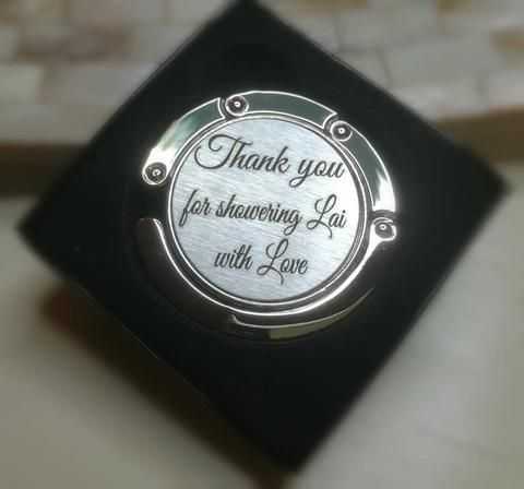 Personalsed handbag hanger with engraving as a wedding favour