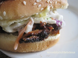 BBQ Pulled Pork Sandwiches. The easiest crockpot dinner you'll ever make. I like to top it with citrus cole slaw.