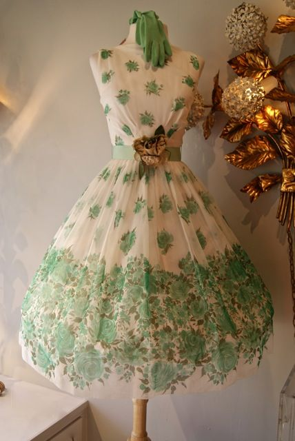 Lovely 1950's green and white floral chiffon party dress