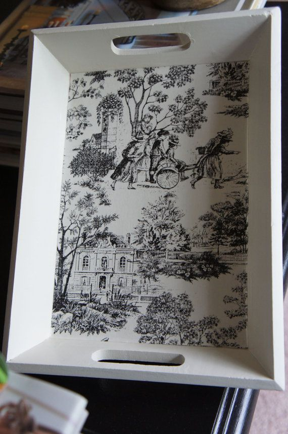 Toile Wood Tray - Black and White