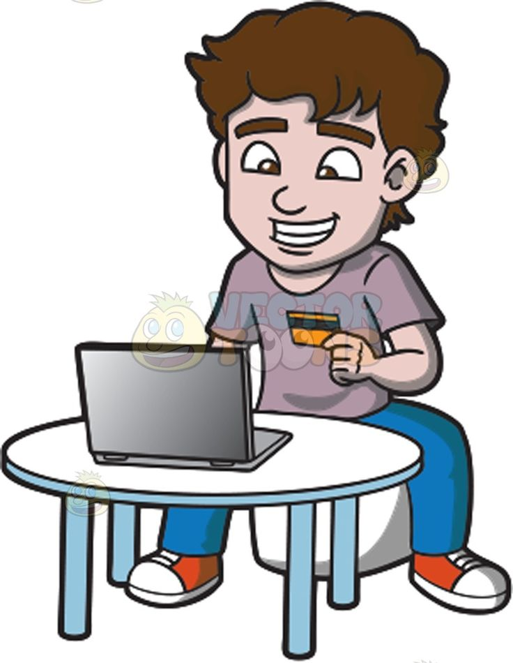 wallet and chain An excited man shopping online    A man with wavy brown hair wearing a pale lavender shirt denim blue jeans orange with white sneakers grins while sitting on a white stool behind a round table grins while looking at the screen of his gray laptop as left hand holds a gold credit card  The post An excited man shopping online appeared first on VectorToons com