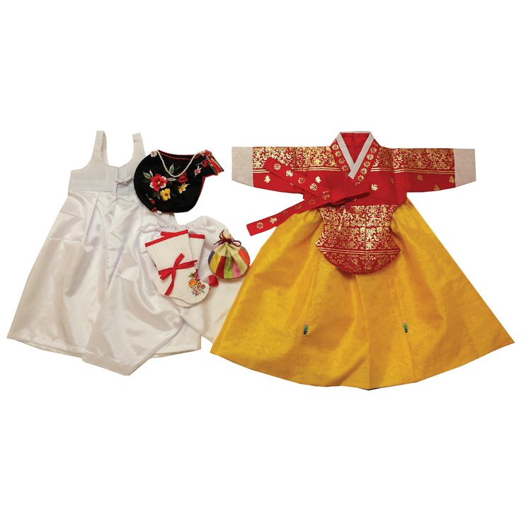 Red with Gold Stamping and Yellow - Girl Dol Hanbok Set - 7 Pieces