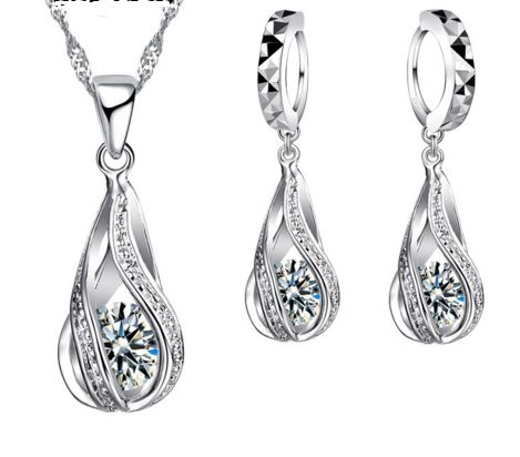 Be special: 925 Sterling Silver Classic Drop Shape White Cryst...