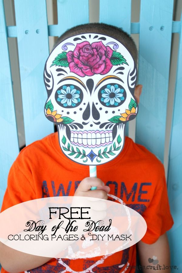 Day of the Dead Mask Coloring Pages