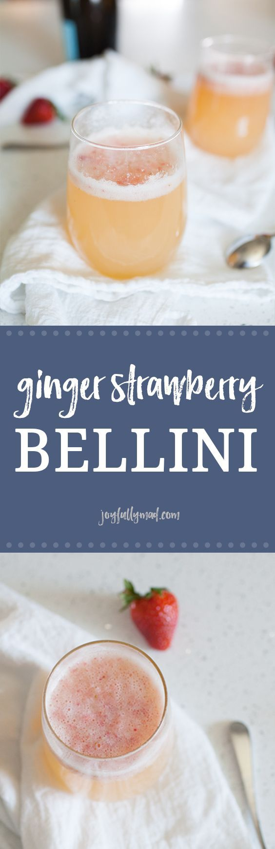 Planning a brunch soon? This Ginger Strawberry Bellini is the perfect brunch cocktail for any occasion! With a fresh strawberry purée, orange juice, ginger ale and Prosecco, this is not your average Bellini recipe!