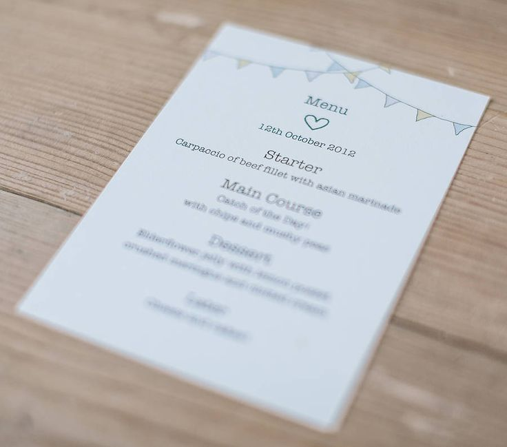 Bunting Wedding Menu