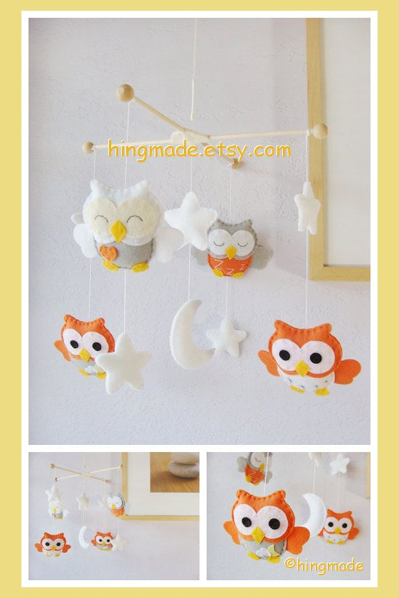 Owl Mobile - Baby Mobile - Nursery Decor - Baby Room Decor - Orange and Gray Owls Mobile in the White Starry Night(Custom color available)