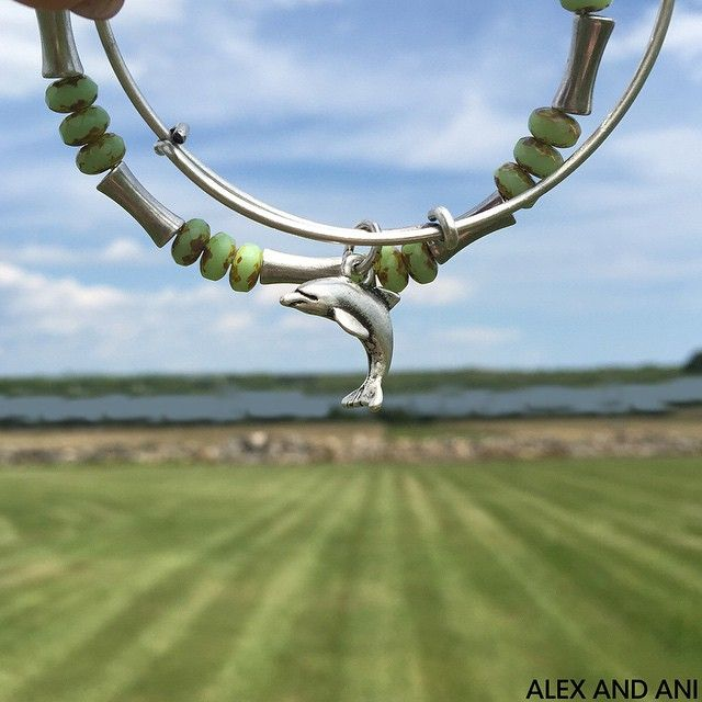 It's July and time for new #banglesofthemonth! Enjoy $5 off the Dolphin and Mantis Glade Beaded Bangle in ALEX AND ANI stores and online with code: SPLASH at checkout! #banglesofthemonth #july #ALEXANDANI #withlove #bangles #gold #silver #positiveenergy #