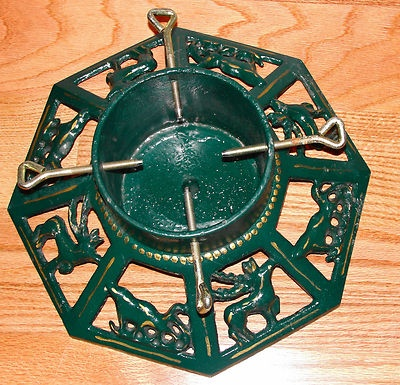 Vintage Christmas Tree Stand ~ Octagon Cast Iron Reindeer and Sleigh Design