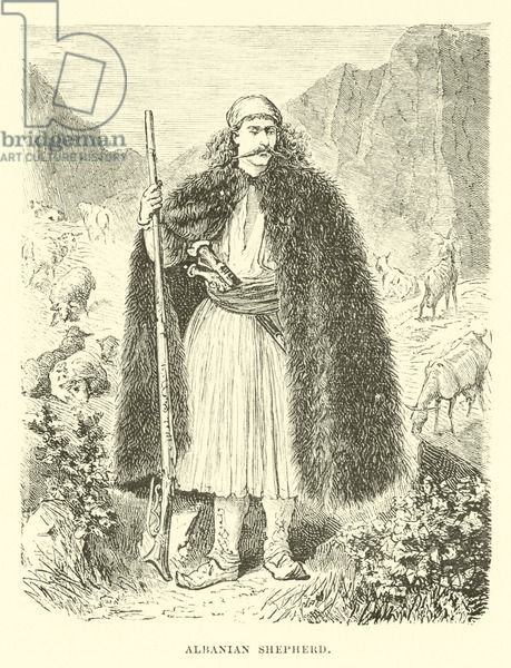 Albanian shepherd. Illustration for The World its Cities and Peoples by Edwin Hopper (Cassell, c 1890).