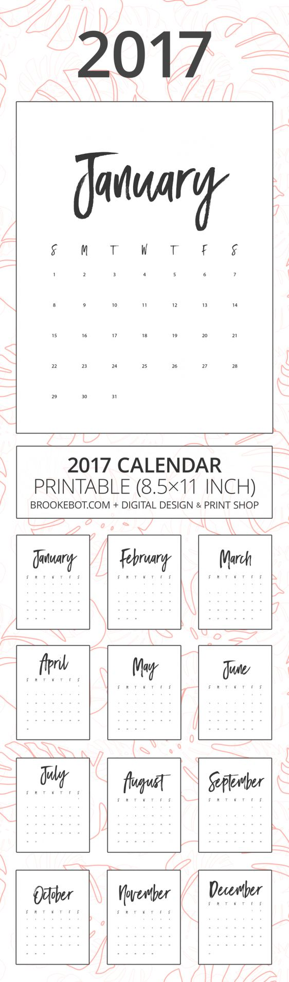 2017 Calendar (Printable 8.5×11 Inch) w/ Black & White Brush