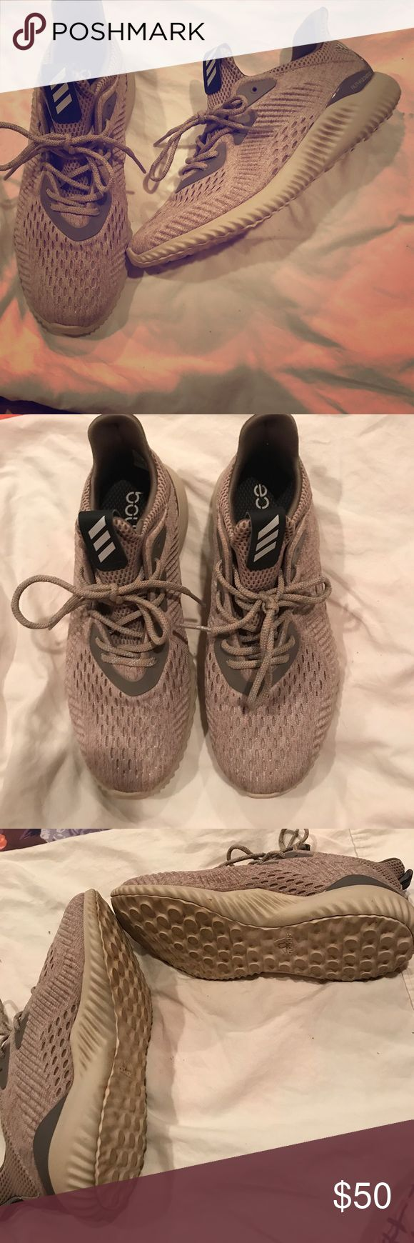 Adidas bounce tennis shoe 7.5 fit more Like 8.5. Tan adidas bounce running shoe , worn a couple times it are too big. adidas Shoes Sneakers