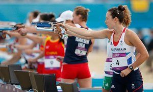 "how to get involved in modern pentathlon: ""If you look at a triathlon and think, 'Great, but where are the guns and horses?', then step this way"" - Samantha Murray on her way to silver in the women's modern pentathlon at the London 2012 Olympics."