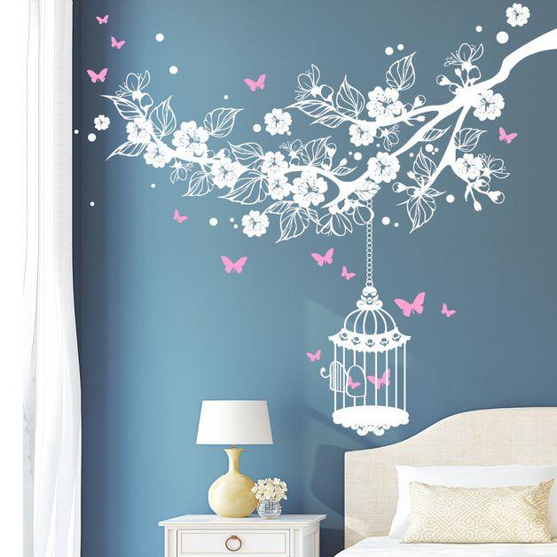 Luxury Romantisch verspieltes Wandtattoo mit Blumen und Schmetterlingen f r Deine Wanddeko romantic playfull wall sticker with