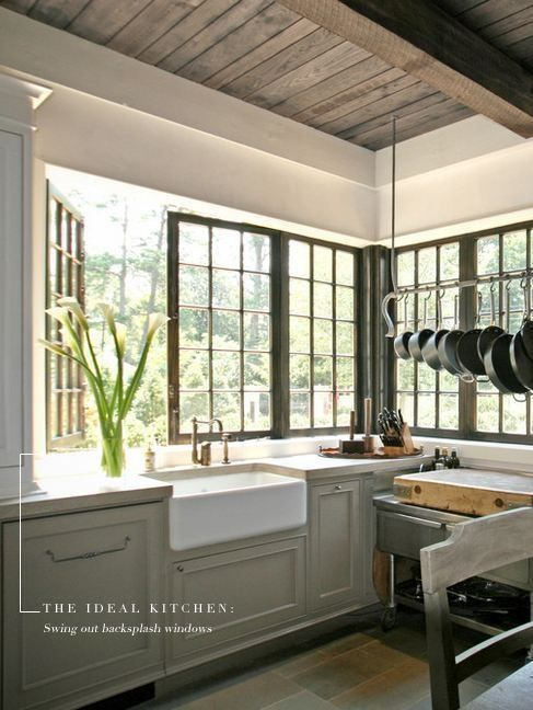 """So dreamy! Swing out backsplash windows wrapping this kitchen. Adding this to my """"one-day"""" list."""