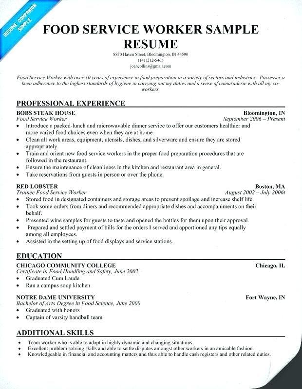 Cafeteria Worker Resume 2019 Lebenslauf Vorlagen Resumeexamples Resumetemplates Curriculumvitae Format Template Cv Cvtemplate