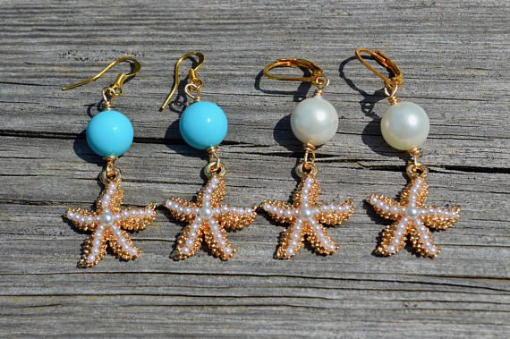 Starfish and pearl gold dangle earrings beach wedding pearl