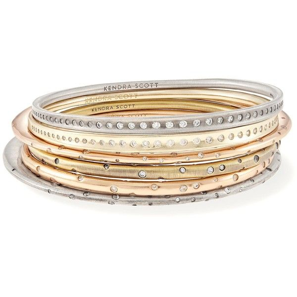 Tori Bangle Bracelets Set in Mixed Metals | Kendra Scott (520 BRL) ❤ liked on Polyvore featuring jewelry, bracelets, hinged bangle, bangle bracelet set, kendra scott jewelry, kendra scott and bracelets bangle