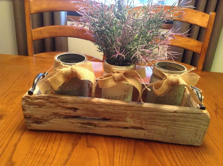 Rustic box made from driftwood with chalk painted mason jars