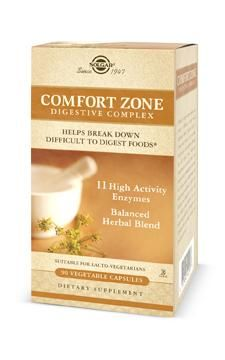 Comfort Zone Digestive Complex Vegetable Capsules, Amylase, Protease,Lactase,  Pectinase/Phytase, Lipase , Bromelain, Cellulase (Fiber Enzyme), Papain (Protein Enzyme), Invertase (Carbohydrate Enzyme), Maltase (Carbohydrate Enzyme), Alpha Galactosidase (Carbohydrate Enzyme), Cumin Powder, Fennel Extract, Chamomile , Ginger Extract , Anise Powder