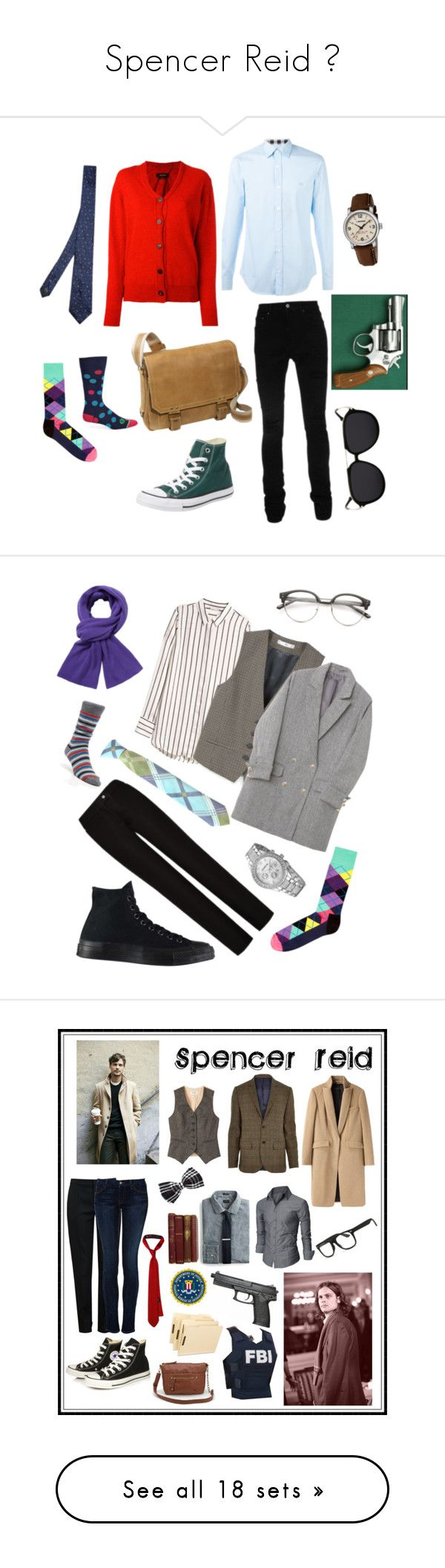 """Spencer Reid ♡"" by bon6-the6-cat6 ❤ liked on Polyvore featuring AMIRI, Converse, David King & Co., Wenger, Happy Socks, Paul Smith, Lanvin, Isabel Marant, Burberry and men's fashion"