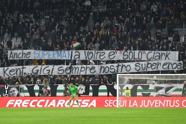 Juventus FC fans display a giant banner of thanks to Gianluigi Buffon during the Serie A match between Juventus FC and Udinese Calcio at Juventus Stadium on October 15, 2016 in Turin, Italy.