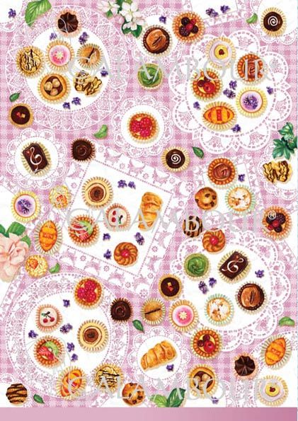CAL 305 - Calambour Paper for classic Decoupage. Pattern : chocolate, raspberry, strawberries, kiwi and cherry small pastries, donuts, white flowers with leaves on a pink embroidered tablecloth background. Details: measures 50 x 70 cm, printing on 80 gr/mq paper sheet