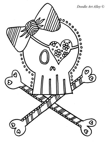 Girl Skull And Boy Eye Patch Pirate Hat Coloring Pages From