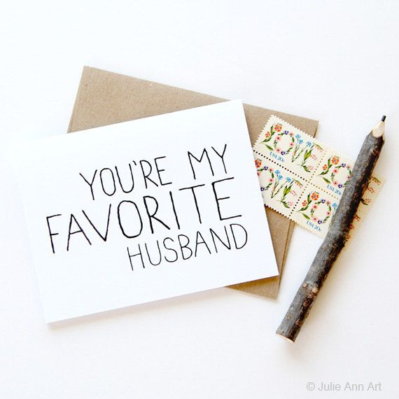 Love Card Husband Card You're My Favorite Husband by JulieAnnArt