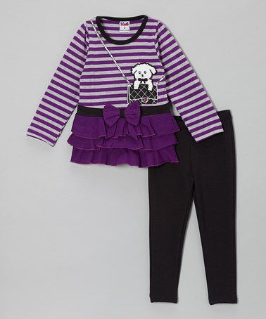 Take a look at this Purple Stripe Dog Tunic & Black Leggings - Toddler & Girls by Unik on #zulily today! $15 !!