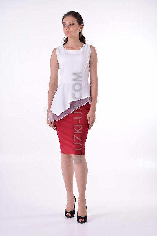 Белая летняя блузка без рукавов с асимметричной двухслойной баской, купить онлайн. Интернет-магазин БЛУЗКИ UA, Украина - женская одежда и женские блузы.