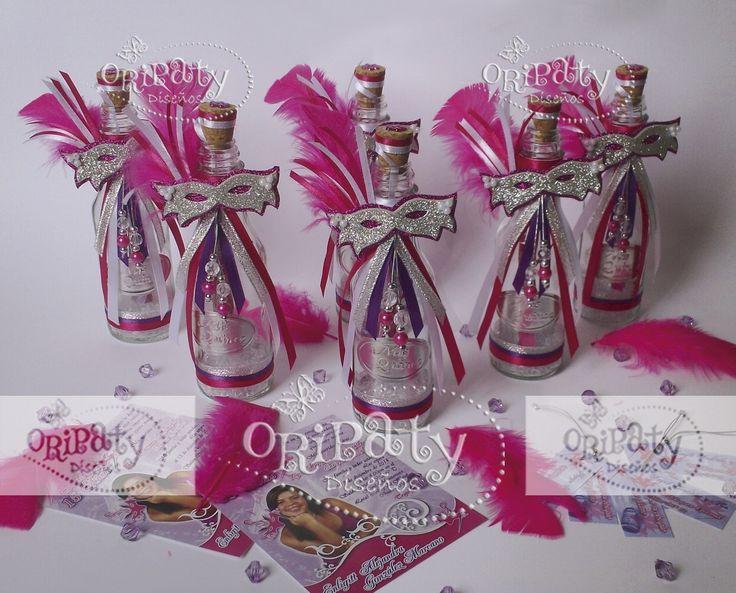 invitaciones en botella para 15 a u00f1os con tem u00e1tica carnaval veneciano