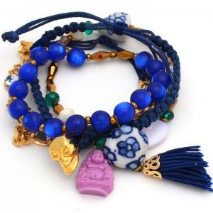 mixture of beads and charms for multi-strand bracelet