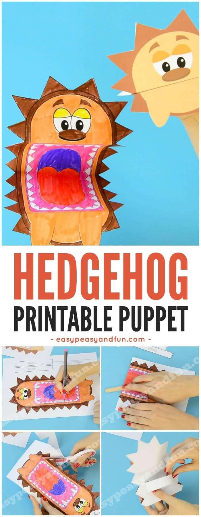 Printable Hedgehog Puppet Template Craft for Kids
